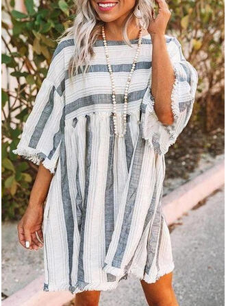 Striped 3/4 Sleeves Shift Above Knee Casual/Vacation Dresses