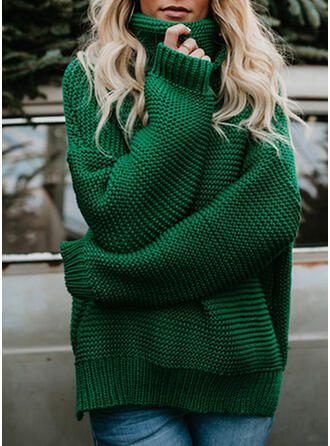 Solid Waffle Knit Turtleneck Casual Sweaters