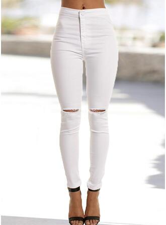 Shirred Long Elegant Sexy Plain Denim & Jeans