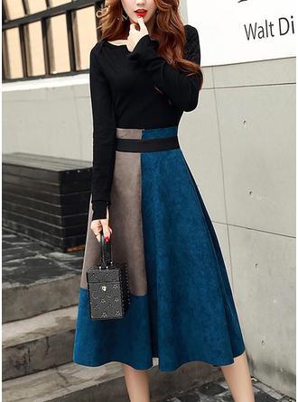 Color Block Long Sleeves A-line Vintage/Elegant Midi Dresses