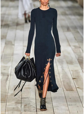 Solid Long Sleeves Sheath Casual Midi Dresses