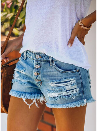 Pockets Shirred Ripped Mini Casual Sexy Shorts