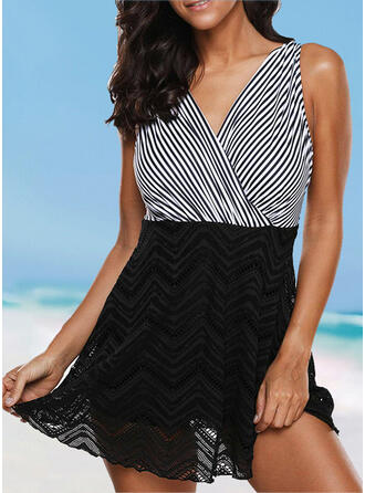 Stripe Cross Strap V-Neck Sexy Vintage Swimdresses Swimsuits
