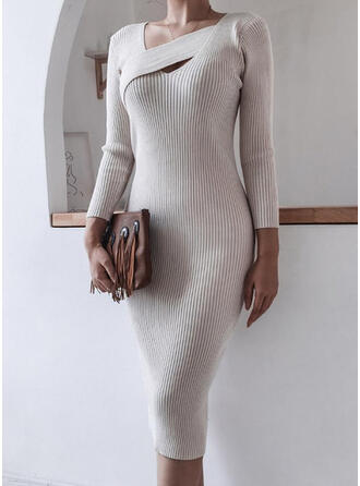 Solid Long Sleeves Bodycon Pencil Elegant Midi Dresses