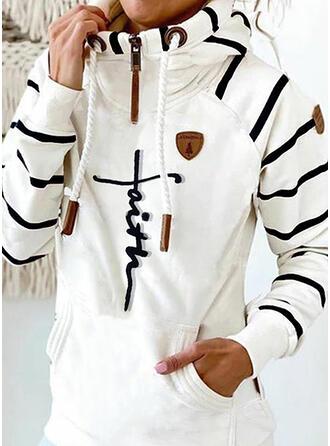 Print Striped Figure Long Sleeves Hoodie