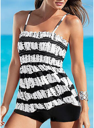 Stripe Print Strap Fresh Cute Tankinis Swimsuits