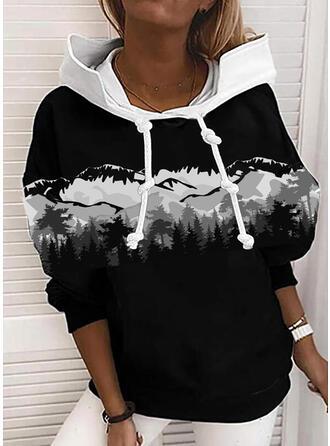 Print Long Sleeves Hoodie
