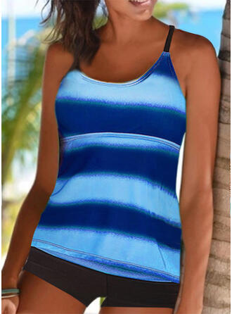 Stripe Splice color Strap Round Neck Sports Plus Size Casual Tankinis Swimsuits