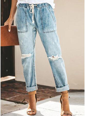 Solid Long Denim Pants