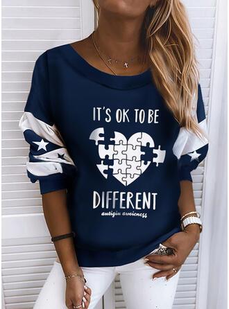 Print Striped Round Neck Long Sleeves Sweatshirt