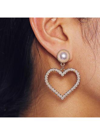 Shining Heart Shaped Alloy With Rhinestones Earrings (Set of 2)