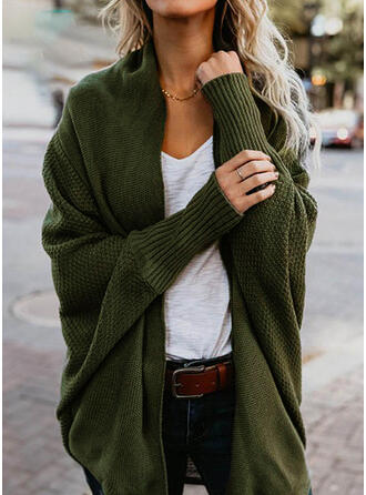 Solid Waffle Knit Casual Cardigan