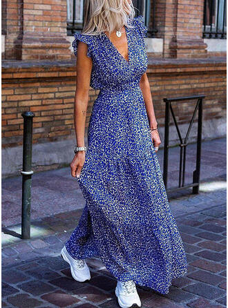 Print Cap Sleeve A-line Casual/Vacation Maxi Dresses