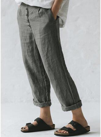 Pockets Shirred Plus Size Long Casual Plain Pants