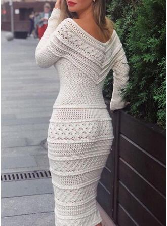 Solid Long Sleeves Bodycon Sweater Elegant Midi Dresses