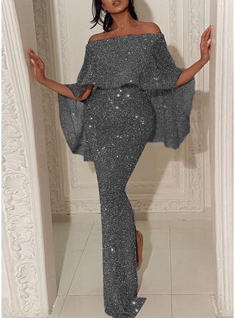 Solid 1/2 Sleeves Bodycon Pencil Party/Elegant Maxi Dresses
