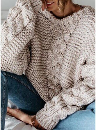 Solid Cable-knit Chunky knit V-Neck Casual Sweaters