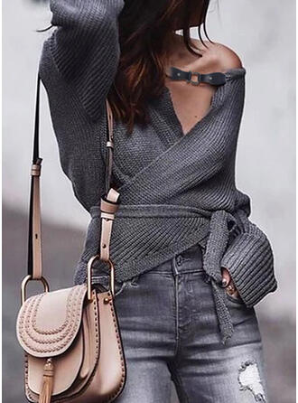 Solid V-Neck Casual Sexy Cardigan