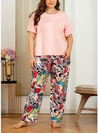 Polyester Print Floral Plus Size Round Neck Short Sleeves Pyjama Set