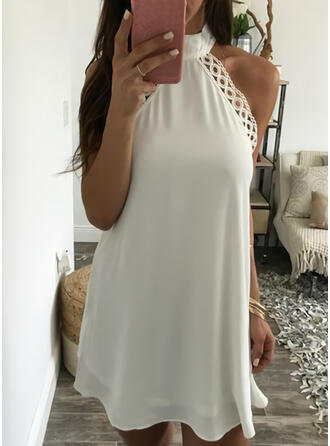 Lace/Solid Sleeveless Shift Above Knee Sexy/Party Dresses