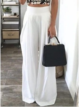 Pockets Shirred Long Casual Elegant Sexy Pants