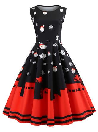 Print Sleeveless A-line Knee Length Vintage/Christmas/Party Dresses