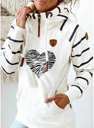 Print Striped Heart Long Sleeves Hoodie