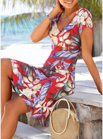 Print/Floral Short Sleeves A-line Knee Length Casual/Boho/Vacation Dresses