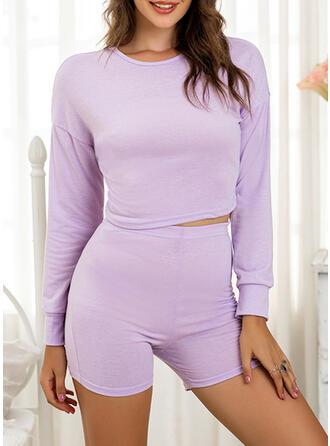 Polyester Plain Round Neck Long Sleeves Sexy Alluring Pyjama Set