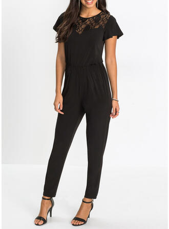 Solid Round Neck Short Sleeves Flare Sleeve Casual Vacation Jumpsuit