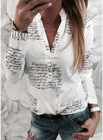 Print Figure V-Neck Long Sleeves Button Up Casual Shirt Blouses