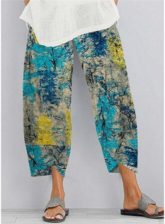 Shirred Plus Size Tie Dye midi Boho Casual Solid Pants