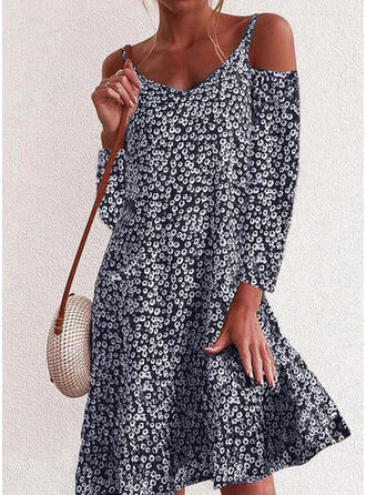 Print/Floral Long Sleeves/Cold Shoulder Sleeve Shift Knee Length Casual/Vacation Dresses