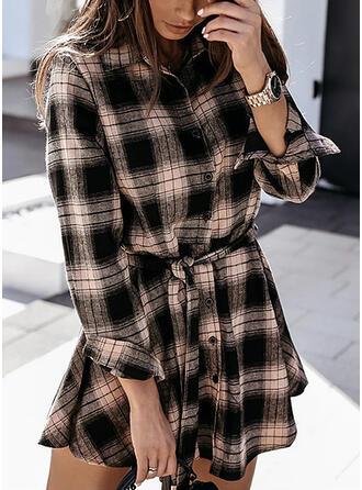 Plaid Long Sleeves Sheath Above Knee Casual Shirt Dresses