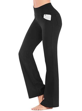 Shirred Long Casual Elegant Sexy Skinny Solid Pants