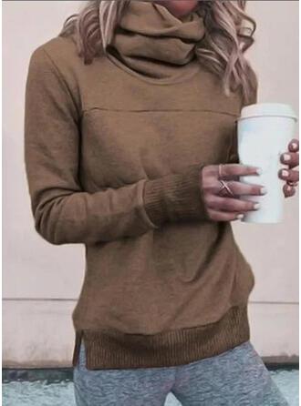 Solid High Neck Long Sleeves Sweatshirt