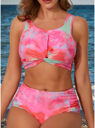 Colorful High Waist Strap Fashionable Novelty Tie-Dye Bikinis Swimsuits