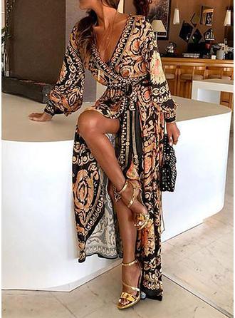 Print Long Sleeves A-line Vintage/Casual/Boho/Vacation Maxi Dresses