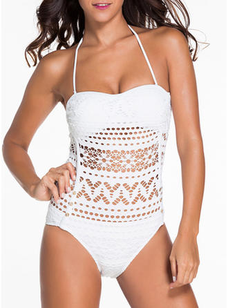 Solid Color Halter Sexy Plus Size One-piece Swimsuits