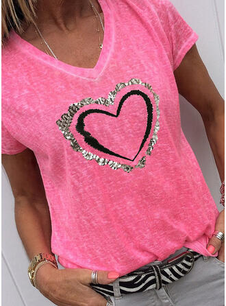 Print Sequins V-Neck Short Sleeves Casual T-shirts