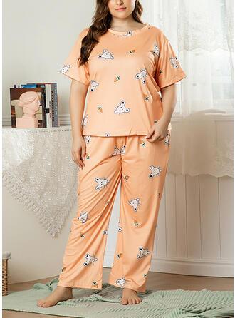 Polyester Plus Size Round Neck Cartoon Short Sleeves Animal Print Pyjama Set