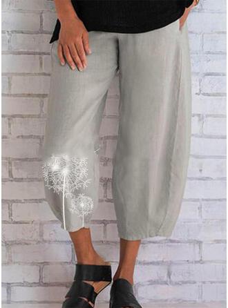 Solid Jacquard Pockets Shirred Plus Size midi Boho Casual Print Pants