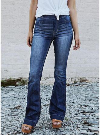 Pockets Shirred Plus Size Long Elegant Sexy Denim & Jeans