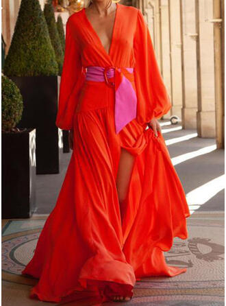 Solid Long Sleeves A-line Skater Casual/Vacation Maxi Dresses