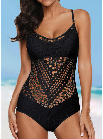 Solid Color Hollow Out Backless Strap U-Neck Sexy Vintage Classic One-piece Swimsuits