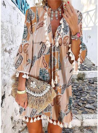 Print 3/4 Sleeves/Flare Sleeves Shift Above Knee Casual/Boho/Vacation Dresses