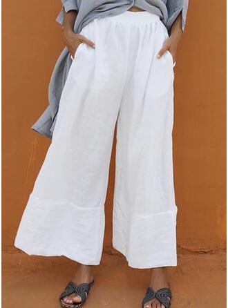 Patchwork Shirred Plus Size Long Boho Casual Pants