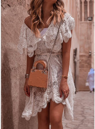 Lace/Solid Short Sleeves A-line Asymmetrical Casual/Vacation Dresses