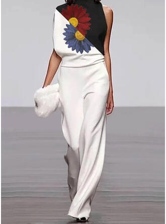 Floral Print Color-block Stand collar Sleeveless Casual Elegant Jumpsuit