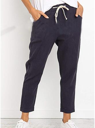 Pockets Shirred midi Casual Solid Pants